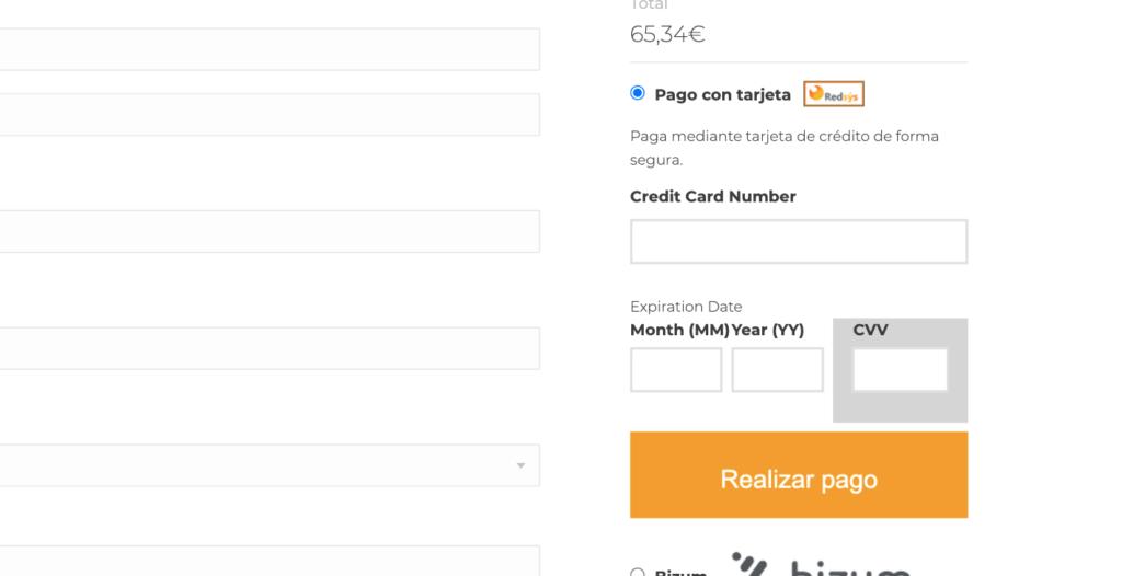 Formulario de tarjeta en la página de pago tipo Stripe.